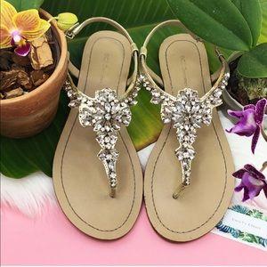 {BCBGeneration} Metallic Floral Rhinestone Sandals